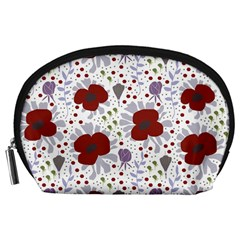 Flower Floral Rose Leaf Red Purple Accessory Pouches (Large)