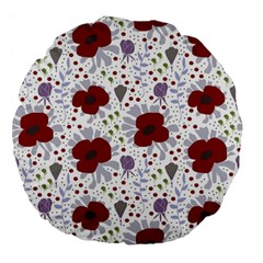 Flower Floral Rose Leaf Red Purple Large 18  Premium Flano Round Cushions
