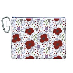 Flower Floral Rose Leaf Red Purple Canvas Cosmetic Bag (XL)