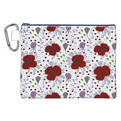 Flower Floral Rose Leaf Red Purple Canvas Cosmetic Bag (XXL)