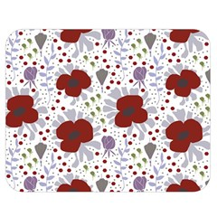 Flower Floral Rose Leaf Red Purple Double Sided Flano Blanket (Medium)