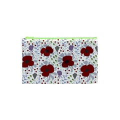 Flower Floral Rose Leaf Red Purple Cosmetic Bag (XS)