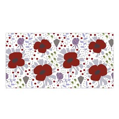 Flower Floral Rose Leaf Red Purple Satin Shawl