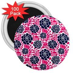 Flower Floral Rose Purple Pink Leaf 3  Magnets (100 pack)