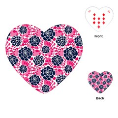 Flower Floral Rose Purple Pink Leaf Playing Cards (Heart)