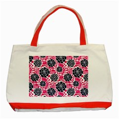 Flower Floral Rose Purple Pink Leaf Classic Tote Bag (Red)
