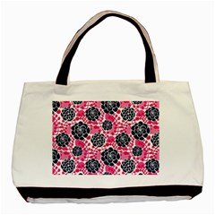 Flower Floral Rose Purple Pink Leaf Basic Tote Bag (Two Sides)