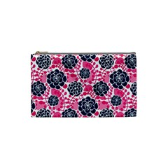 Flower Floral Rose Purple Pink Leaf Cosmetic Bag (Small)
