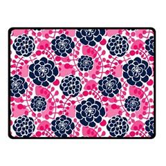 Flower Floral Rose Purple Pink Leaf Fleece Blanket (Small)