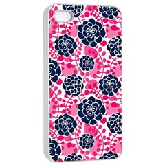 Flower Floral Rose Purple Pink Leaf Apple iPhone 4/4s Seamless Case (White)