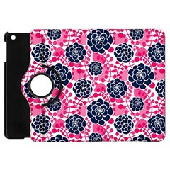 Flower Floral Rose Purple Pink Leaf Apple iPad Mini Flip 360 Case