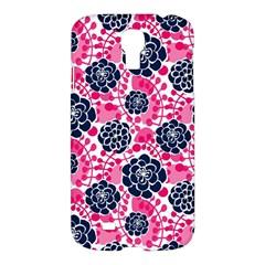 Flower Floral Rose Purple Pink Leaf Samsung Galaxy S4 I9500/I9505 Hardshell Case