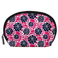 Flower Floral Rose Purple Pink Leaf Accessory Pouches (Large)