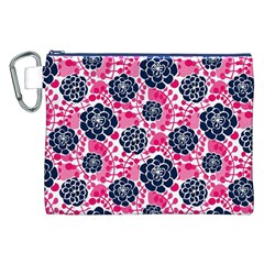 Flower Floral Rose Purple Pink Leaf Canvas Cosmetic Bag (XXL)