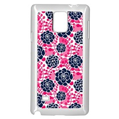 Flower Floral Rose Purple Pink Leaf Samsung Galaxy Note 4 Case (White)