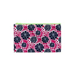 Flower Floral Rose Purple Pink Leaf Cosmetic Bag (XS)
