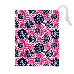 Flower Floral Rose Purple Pink Leaf Drawstring Pouches (Extra Large)