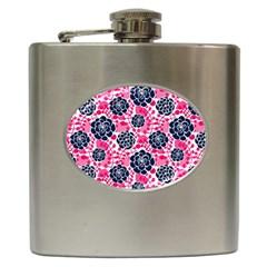 Flower Floral Rose Purple Pink Leaf Hip Flask (6 oz)