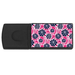 Flower Floral Rose Purple Pink Leaf USB Flash Drive Rectangular (2 GB)