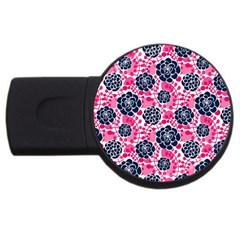 Flower Floral Rose Purple Pink Leaf USB Flash Drive Round (4 GB)