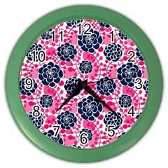 Flower Floral Rose Purple Pink Leaf Color Wall Clocks