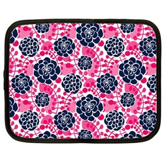 Flower Floral Rose Purple Pink Leaf Netbook Case (Large)