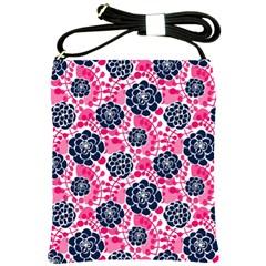 Flower Floral Rose Purple Pink Leaf Shoulder Sling Bags