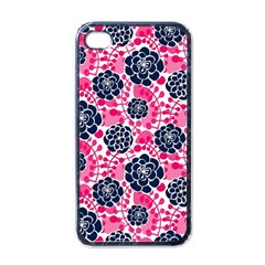 Flower Floral Rose Purple Pink Leaf Apple iPhone 4 Case (Black)