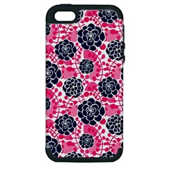 Flower Floral Rose Purple Pink Leaf Apple iPhone 5 Hardshell Case (PC+Silicone)