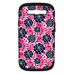 Flower Floral Rose Purple Pink Leaf Samsung Galaxy S III Hardshell Case (PC+Silicone)