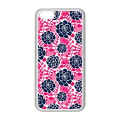 Flower Floral Rose Purple Pink Leaf Apple iPhone 5C Seamless Case (White)