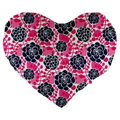 Flower Floral Rose Purple Pink Leaf Large 19  Premium Flano Heart Shape Cushions