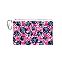 Flower Floral Rose Purple Pink Leaf Canvas Cosmetic Bag (S)