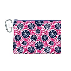 Flower Floral Rose Purple Pink Leaf Canvas Cosmetic Bag (M)