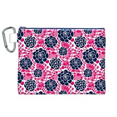 Flower Floral Rose Purple Pink Leaf Canvas Cosmetic Bag (XL)