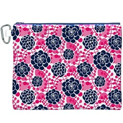 Flower Floral Rose Purple Pink Leaf Canvas Cosmetic Bag (XXXL)