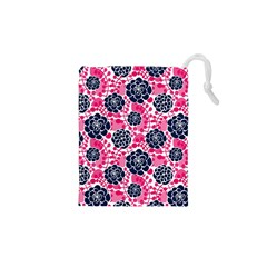 Flower Floral Rose Purple Pink Leaf Drawstring Pouches (XS)