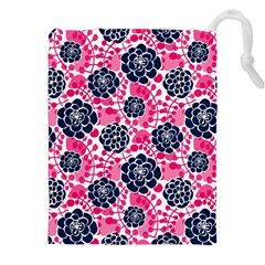 Flower Floral Rose Purple Pink Leaf Drawstring Pouches (XXL)