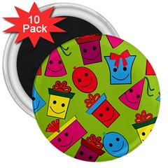 Happy Birthday Background 3  Magnets (10 pack)