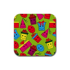 Happy Birthday Background Rubber Square Coaster (4 pack)