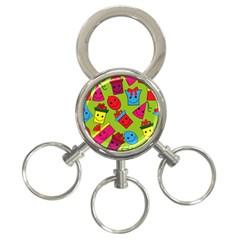 Happy Birthday Background 3-Ring Key Chains