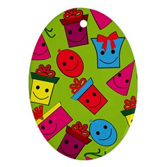 Happy Birthday Background Oval Ornament (Two Sides)