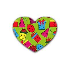 Happy Birthday Background Heart Coaster (4 pack)