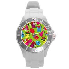 Happy Birthday Background Round Plastic Sport Watch (L)