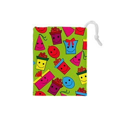 Happy Birthday Background Drawstring Pouches (Small)