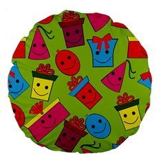 Happy Birthday Background Large 18  Premium Flano Round Cushions