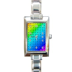 Letters Numbers Color Green Pink Purple Rectangle Italian Charm Watch