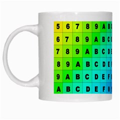 Letters Numbers Color Green Pink Purple White Mugs