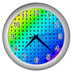 Letters Numbers Color Green Pink Purple Wall Clocks (Silver)