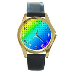 Letters Numbers Color Green Pink Purple Round Gold Metal Watch